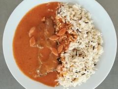 Frankfurtská roštěná, dušená rýže