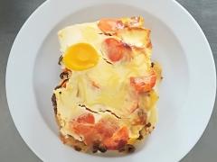 Myslivecká musaka (mleté hov. maso, žampiony, smetana, sýr, mrkev, brambory)