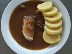 Vepřová plec na houbách, bramborový knedlík